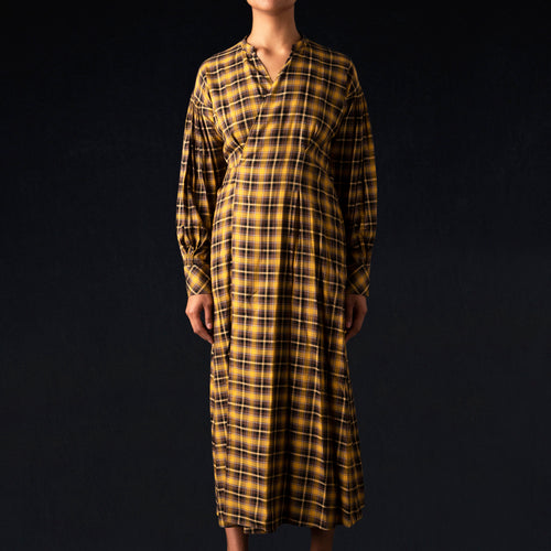 Soft Viella Belted Dress in Yellow Check