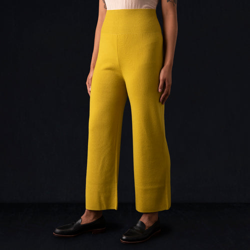 Fine Wool Wide Pant in Yellow