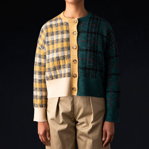 Blocking Knit Crew Cardigan in Green & Yellow Check