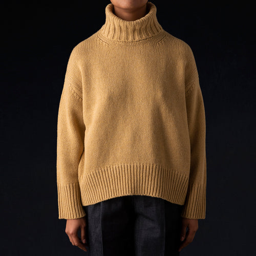 Fine Woolen High Neck Pullover in Yellow