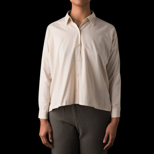 Cotton Square Shirt in Ecru
