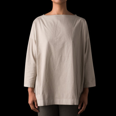 Evam Eva - Cotton Stand Neck Shirt in Greige