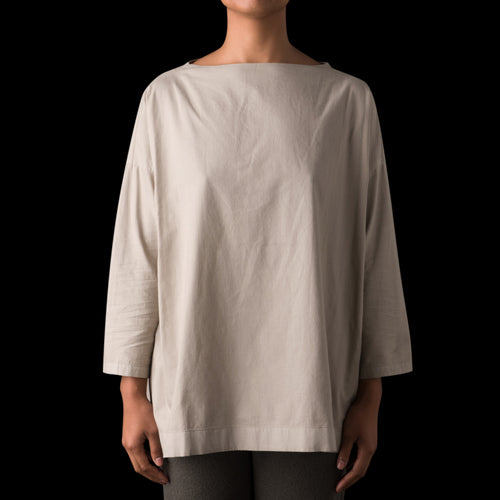 Cotton Stand Neck Shirt in Greige