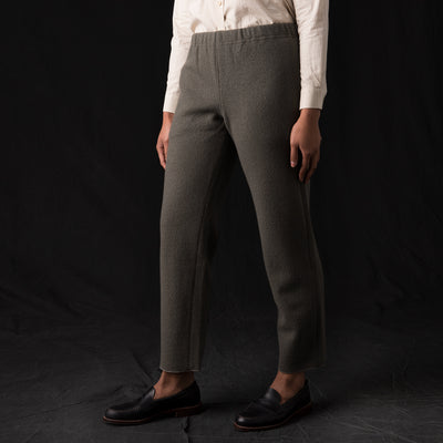 Evam Eva - Press Wool Straight Pant in Otter Grey