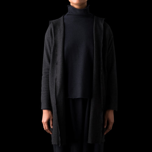 Press Wool Hooded Coat in Charcoal