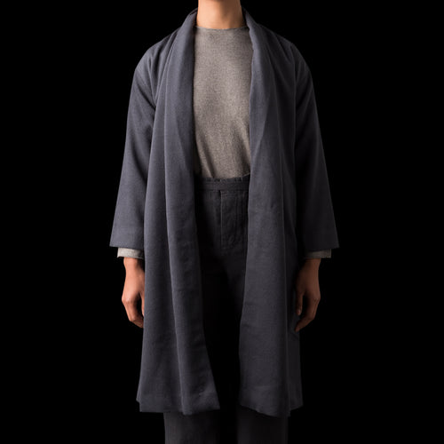 Angora Wool Robe Coat in Blue Grey