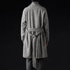 Deveaux - Herringbone Robe Coat in Black & White