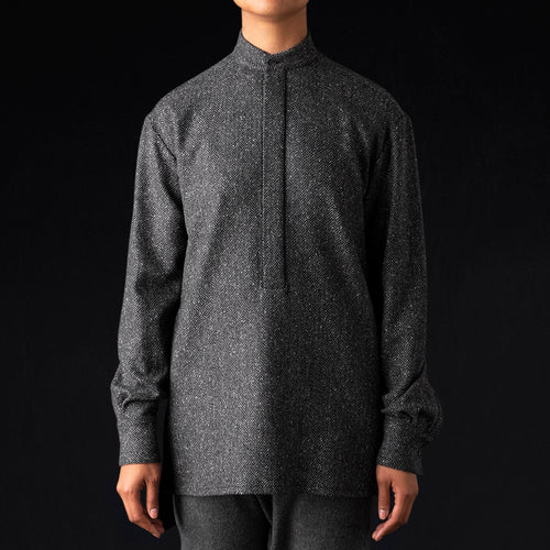 Wool Herringbone Tunic Shirt in Grey
