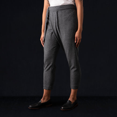 Wool Melton Asymmetrical Pant in Grey