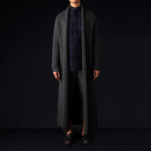 Wool Knitted Shawl Coat in Grey