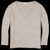Deveaux - Cashmere Tweed Oversized V-Neck in Beige