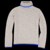 Deveaux - Cashmere Tweed Oversized Turtleneck in Beige & Blue