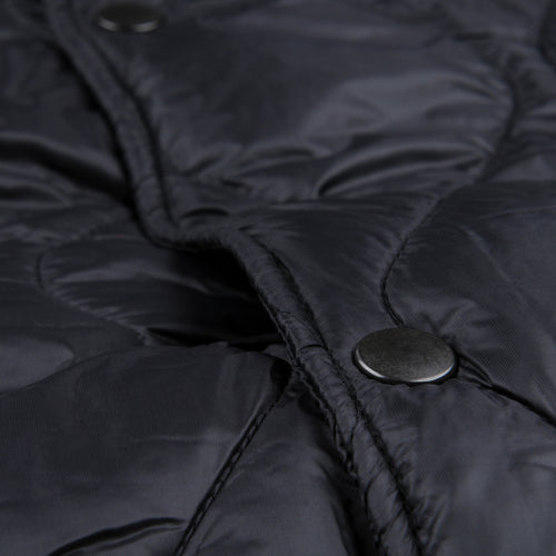 Quilted Nylon Warm Up Bomber in Black