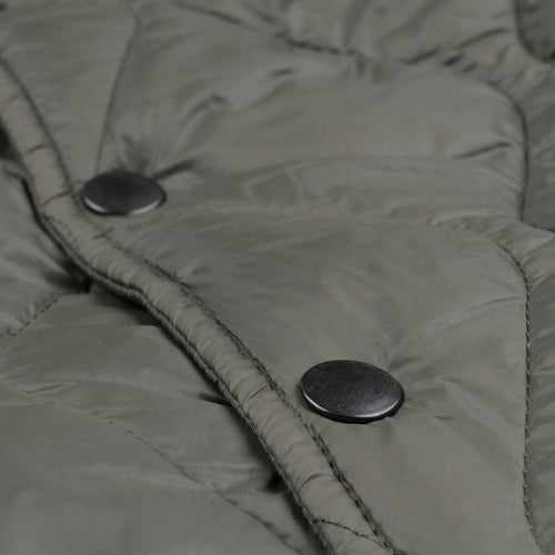 Quilted Nylon Warm Up Bomber in Olive