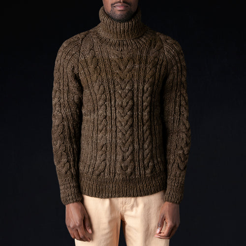 Turtleneck Fisherman Pullover in Factory Olive