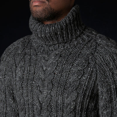 Chamula - Turtleneck Fisherman Pullover in Ox Grey