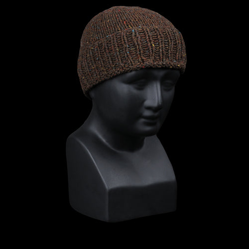 Hector Handknit Wool Beanie in Taupe & Brown