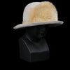 Albertus Swanepoel - Donn Alabaster Sueded Felt Hat with Faux Fur Trim