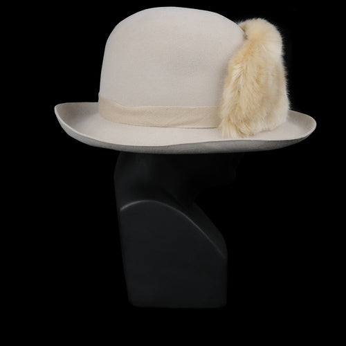 Donn Alabaster Sueded Felt Hat with Faux Fur Trim