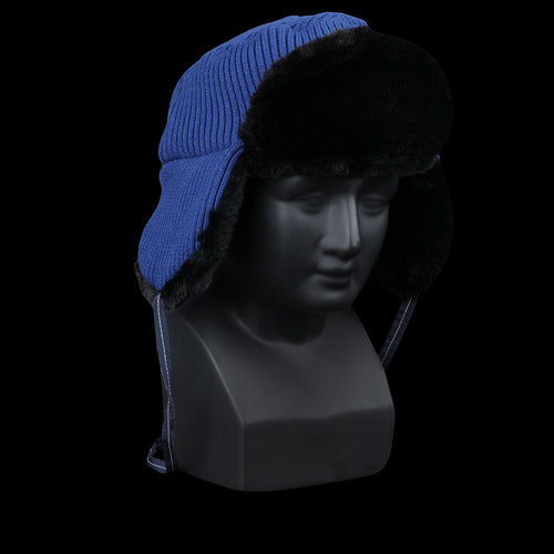 Brant Blue Rib Knit Trapper with Black Faux Fur
