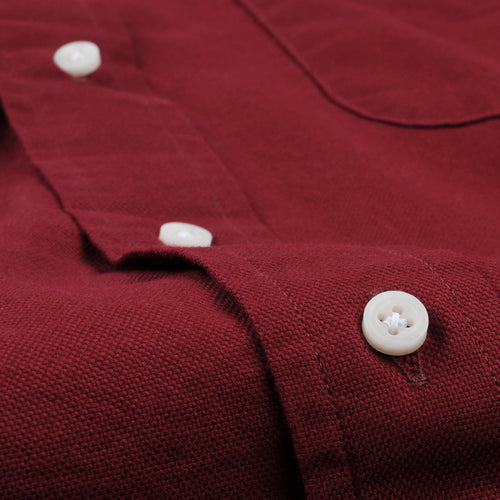 Hopsack Button Down Shirt in Red