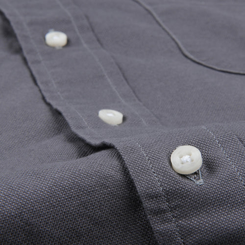 Hopsack Button Down Shirt in Grey