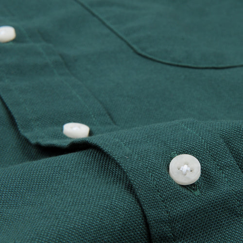 Hopsack Button Down Shirt in Green