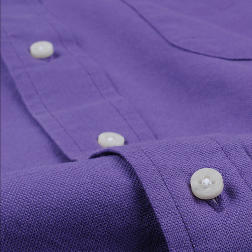 Hopsack Button Down Shirt in Purple