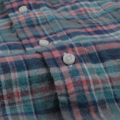 Gitman Vintage - Plaid Flannel Key Collar Shirt in Candy