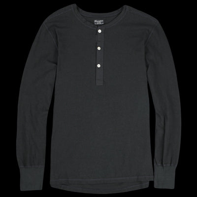 Homespun Knitwear - Zimbabwe Jersey Coalminer Henley in Aged Black