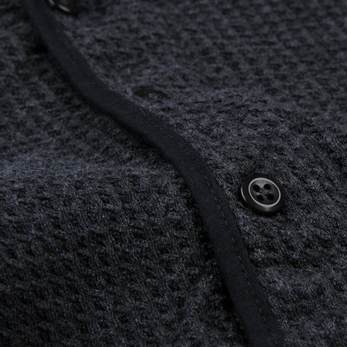 Dual Waffle Standard Henley in Charcoal