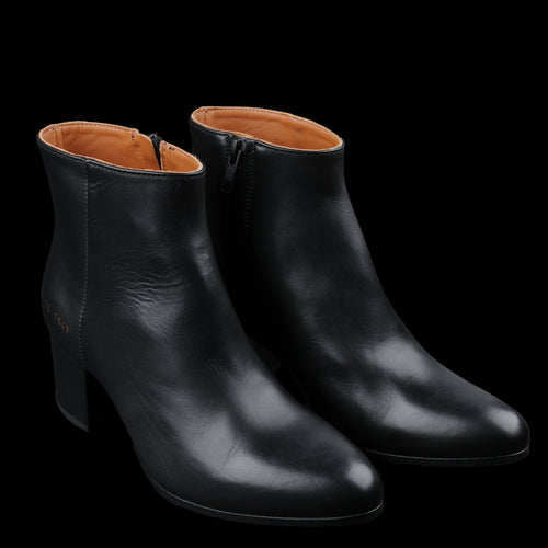 Zip Ankle Boot in Black Leather