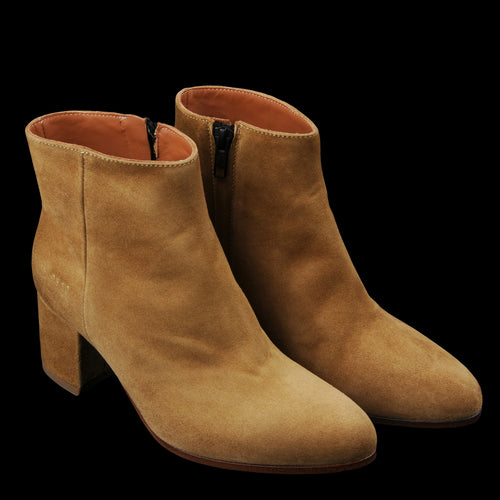 Zip Ankle Boot in Tan Suede
