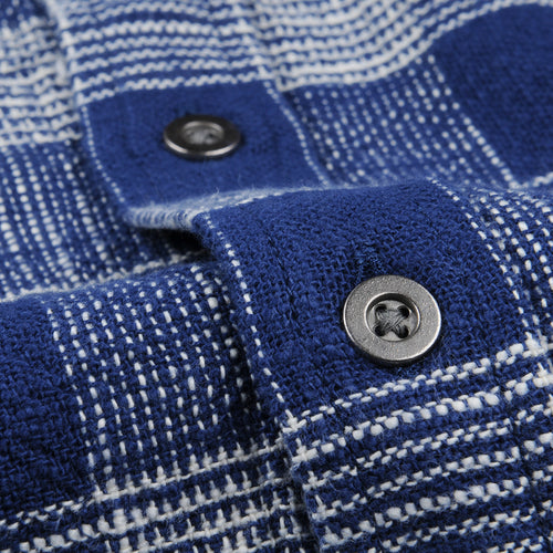 Triple Check LS Shirt in Indigo Blue