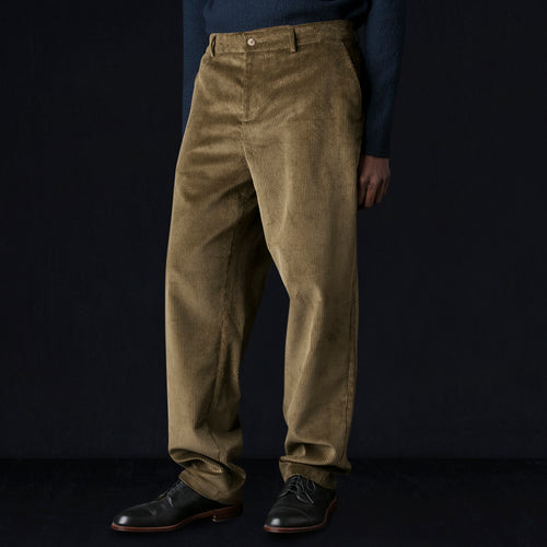 Wide Wale Corduroy Wide Leg Straight Trouser in Olive
