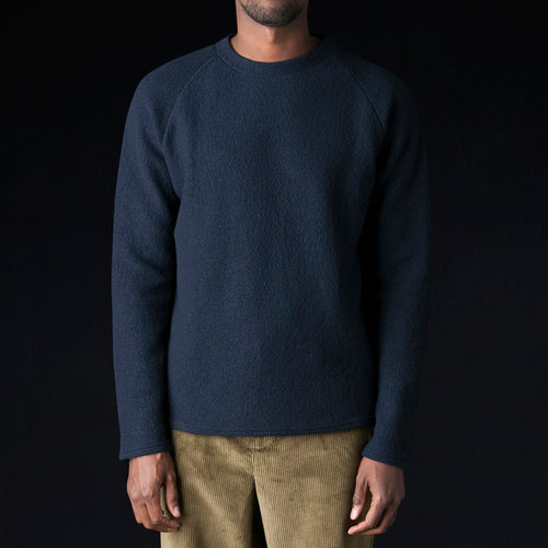 Boiled Wool Cotton Jersey Raglan Sweater in Navy