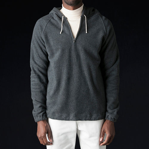 Organic Cotton Fleece Half Zip Hoodie in Grey