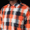 Eastlogue - Regular Button Down Shirt in Navy & Orange Check