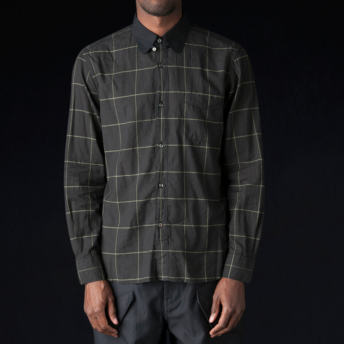 Eastlogue Tab Collar Shirt In Black Wide Check Unionmade
