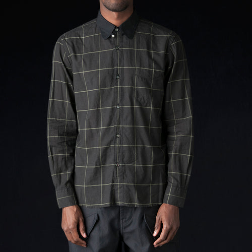 Tab Collar Shirt in Black Wide Check