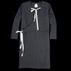 wrk-shp - Waffle Wrap Dress in Midnight Black