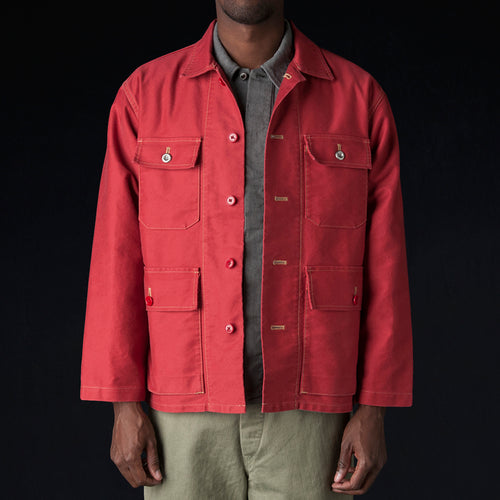 Heavy Moleskin Hunting Jacket in Red