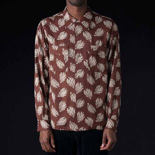 Aloha Print Rayon Open Shirt in Brown