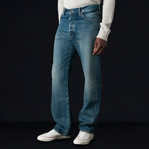 13.5oz Selvedge Denim Narrow Tapered Cut in Medium Distress