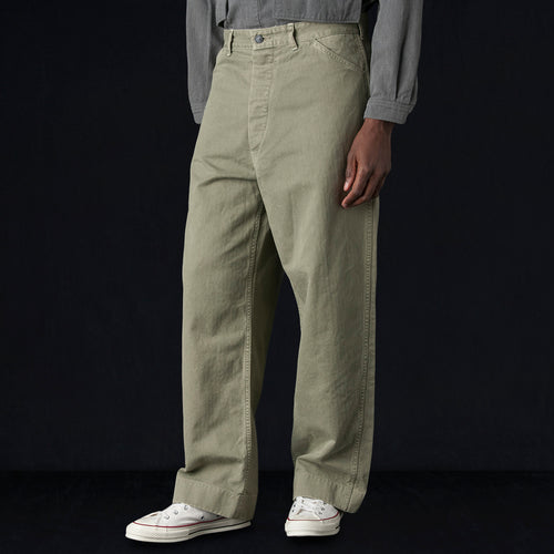 Herringbone USMC Utility HBT Trouser in Khaki Green