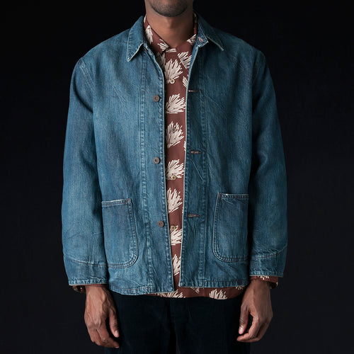 Denim x Heavy Twill Flannel Work Jacket in Dark Wash