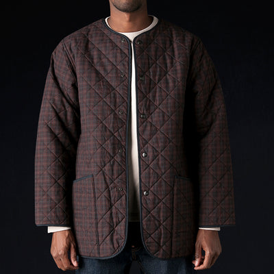 Chimala - Plaid x Fleece Liner Quilted Jacket in Wine