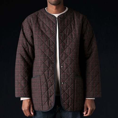 Plaid x Fleece Liner Quilted Jacket in Wine