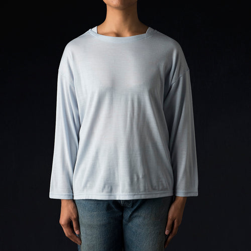 Wool Jersey Boatneck Big Tee in Pale Blue