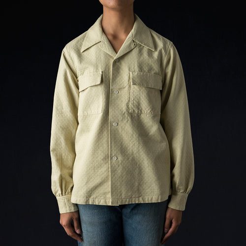 Cotton Jacquard Garment Dyed Open Shirt in Tea Green